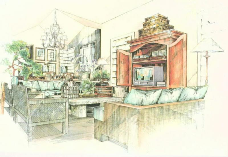 Helda Residence Concept rendering of living space